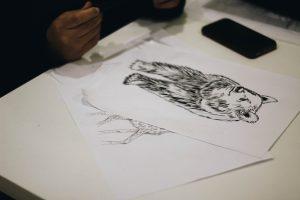 houtskool tekening