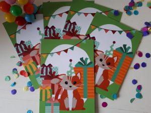 Postkaart Woodland Kat Feest Oktoberdots