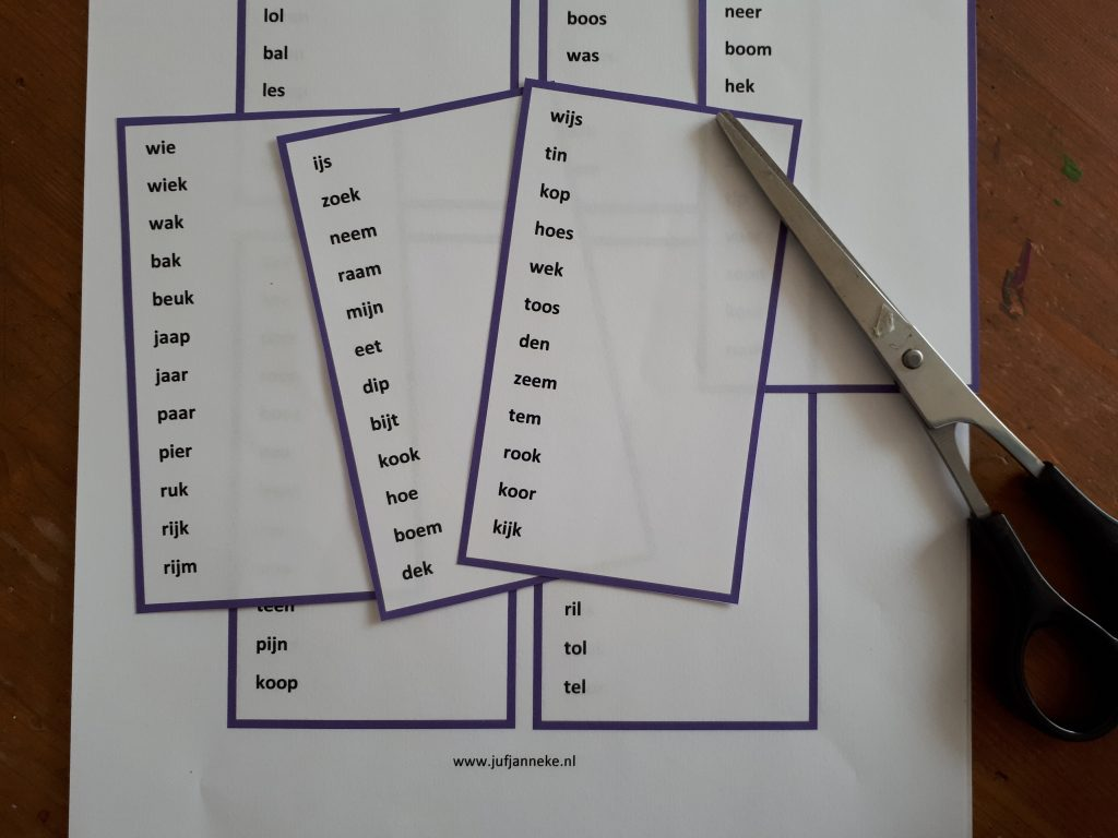 leesles in groep 3 - woordrijtjes juf janneke